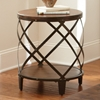 Winston Round End Table - Distressed Tobacco, Antiqued Metal - SSC-WN450E