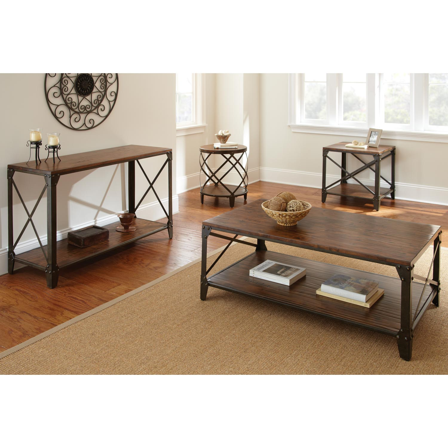 Winston Coffee Table - Distressed Tobacco, Antiqued Metal - SSC-WN400C