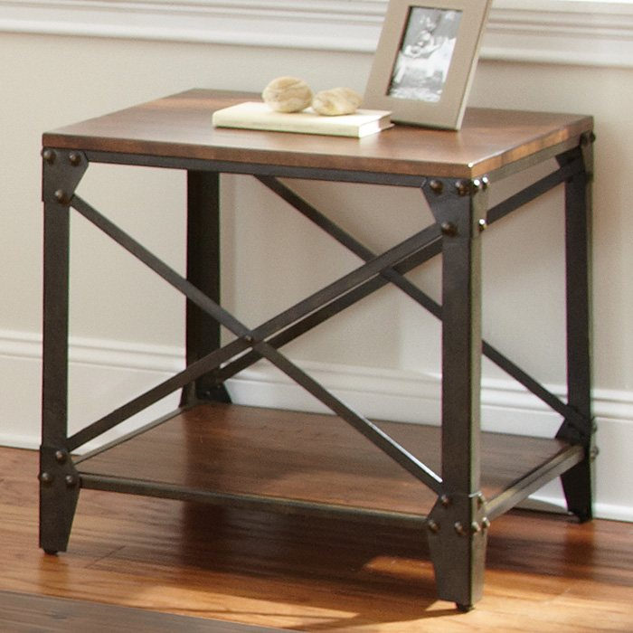 Winston Square End Table - Distressed Tobacco, Antiqued Metal - SSC-WN400E