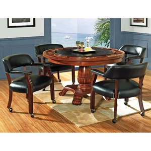 Tournament 5 Piece Game Set with Black Chairs on Casters