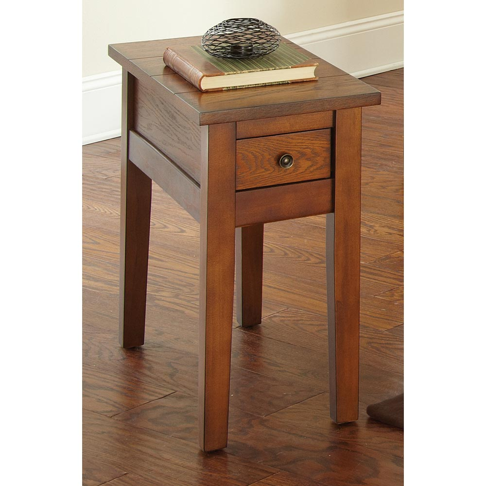 Desoto Chairside End Table Drawer Dark Oak Finish