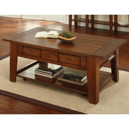 Desoto Coffee Table Drawers Casters Dark Oak Finish Dcg Stores
