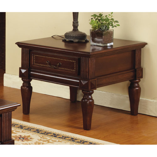 Davina Classic End Table / Nightstand in Cherry Finish
