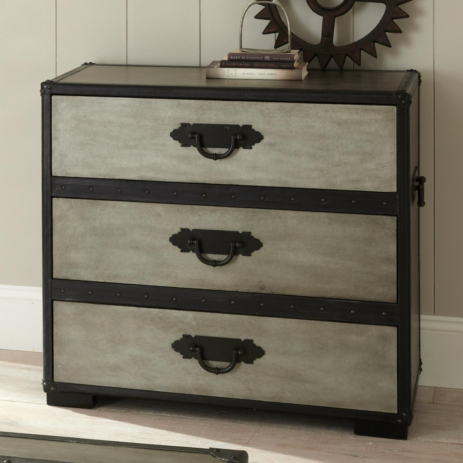 Rowan 3-Drawer Chest - Leather Accents, Gray - SSC-RW300CH