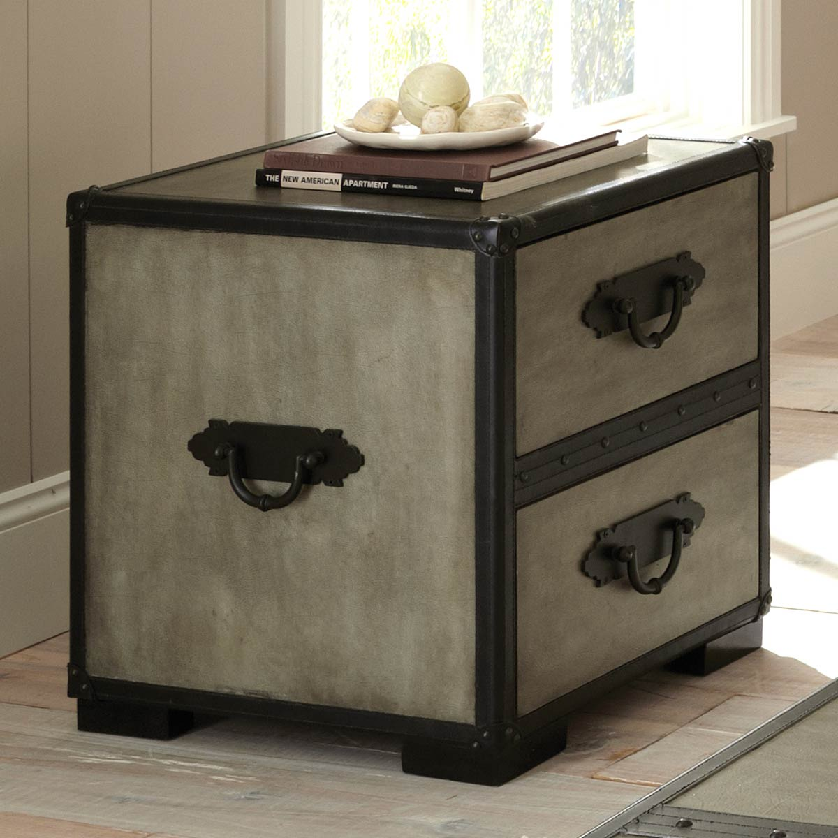 Rowan 2-Drawer End Table - Leather Accents, Gray - SSC-RW300E