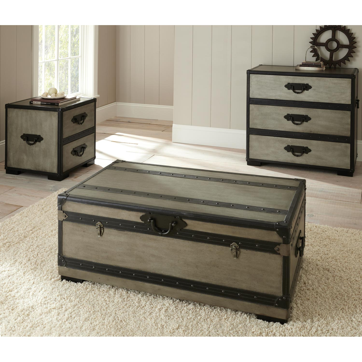 Rowan Storage Trunk Coffee Table Leather Accents Gray DCG