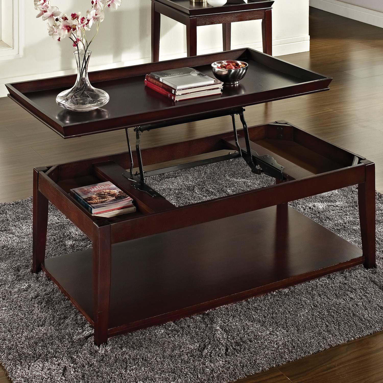 Clemson rectangular coffee table lift top dark cherry dcg stores