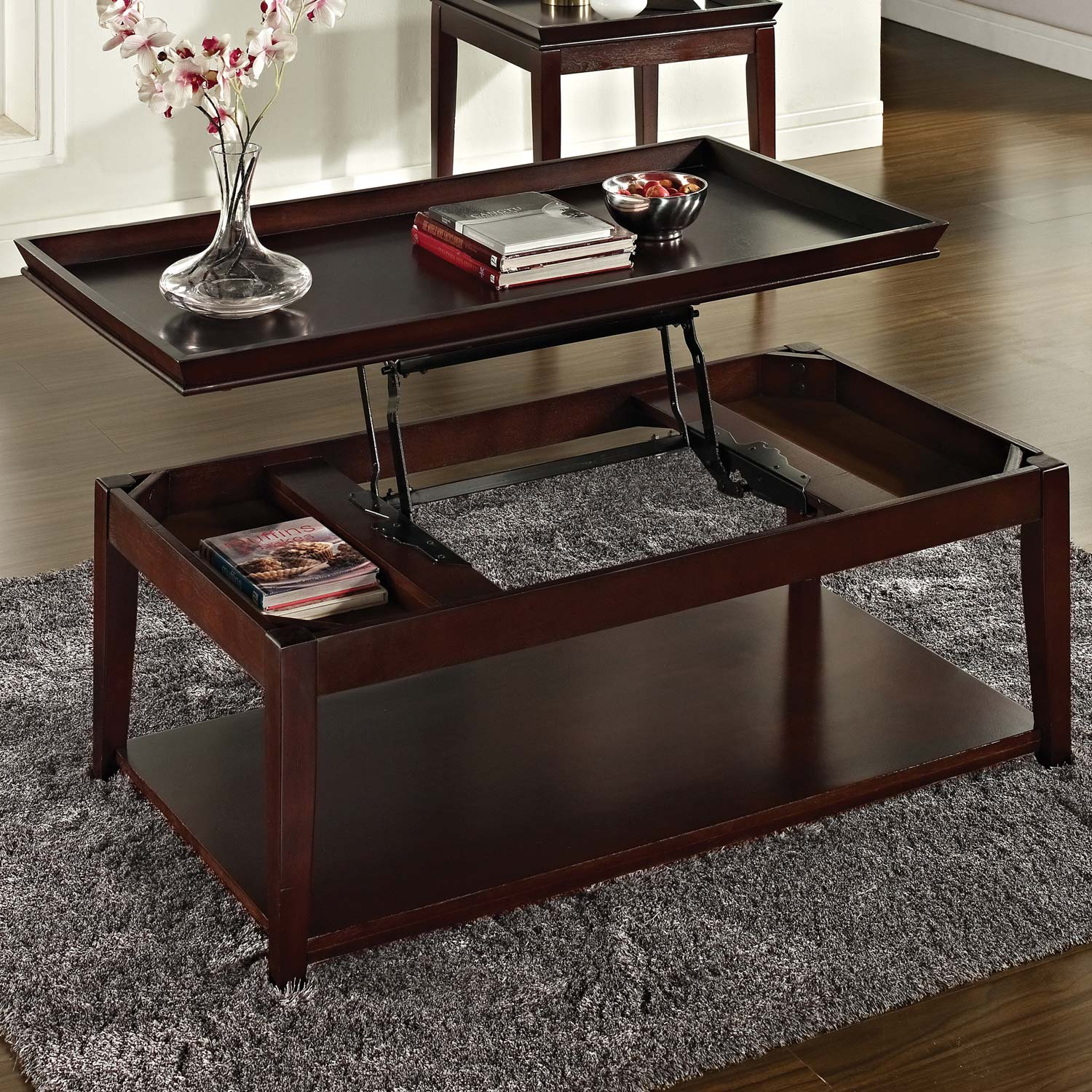 Clemson rectangular coffee table lift top dark cherry dcg stores Coffee table cherry
