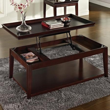Clemson Rectangular Coffee Table Lift Top Dark Cherry
