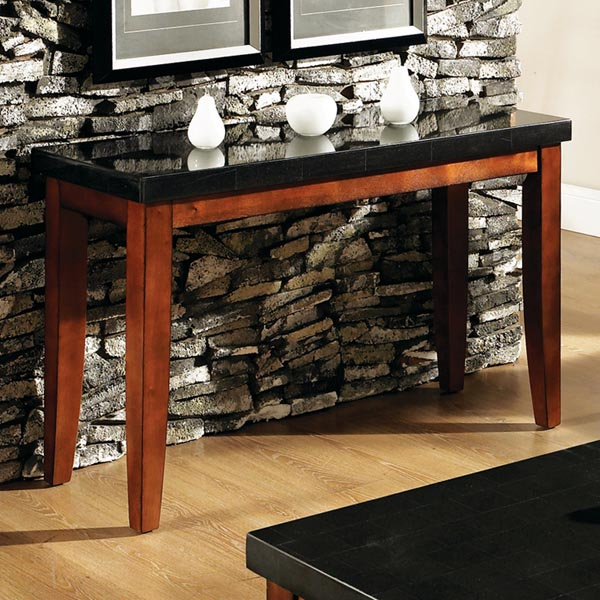 Granite Bello Sofa Table with Cherry Finished Legs - SSC-MG700S