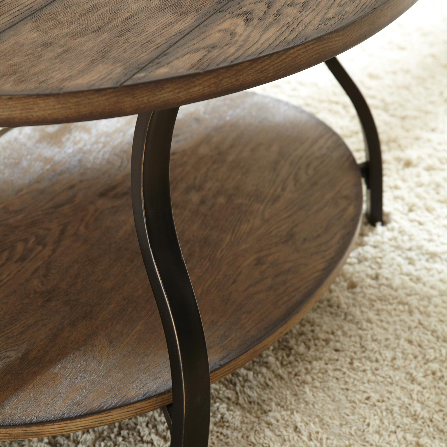 Denise Oval Coffee Table - Light Oak Wood Top, Metal Base - SSC-DN200C