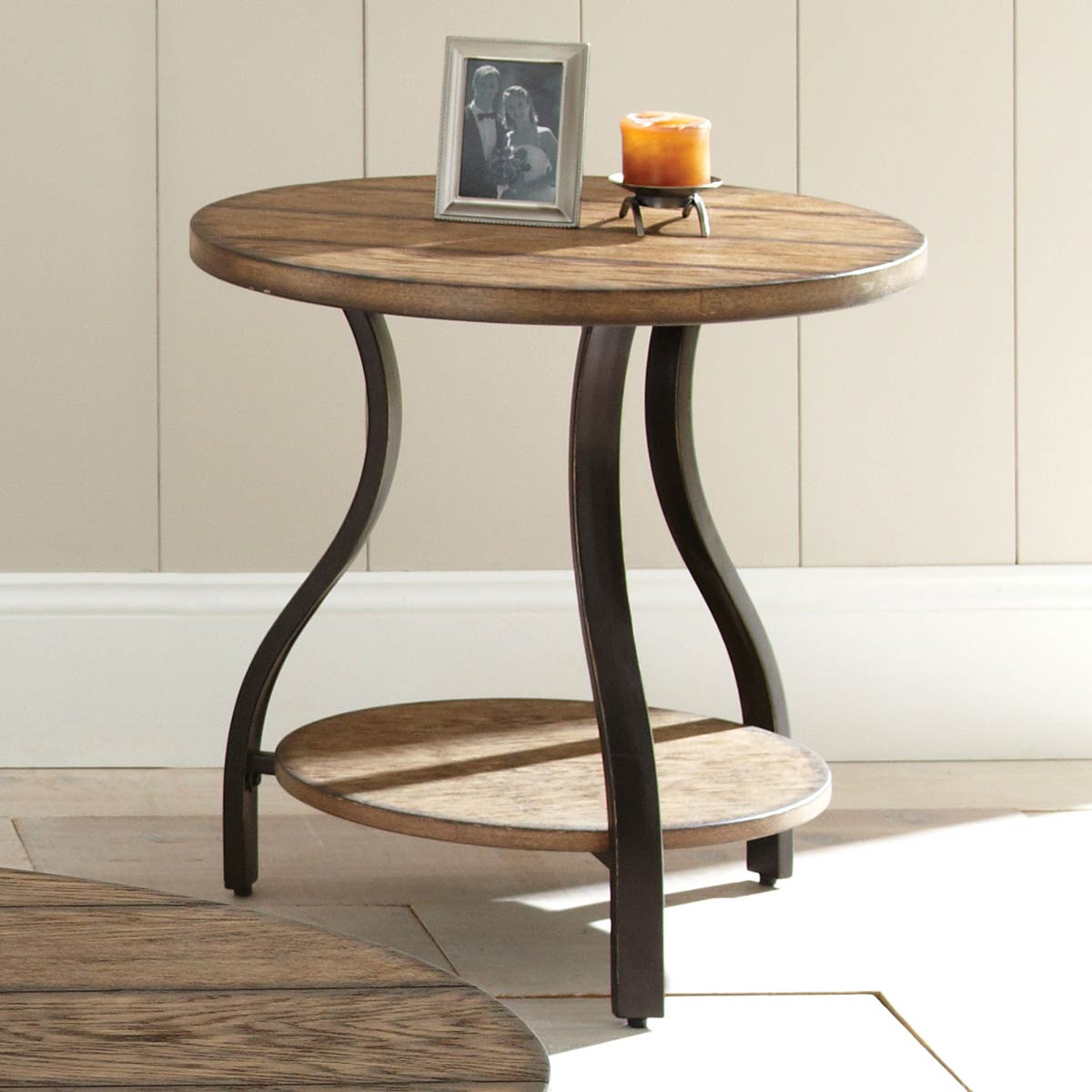 Denise Round Side Table - Light Oak Wood Top, Metal Base - SSC-DN200E