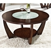 Rafael Round Coffee Table - Crackled Glass, Dark Cherry Wood - SSC-RF300C