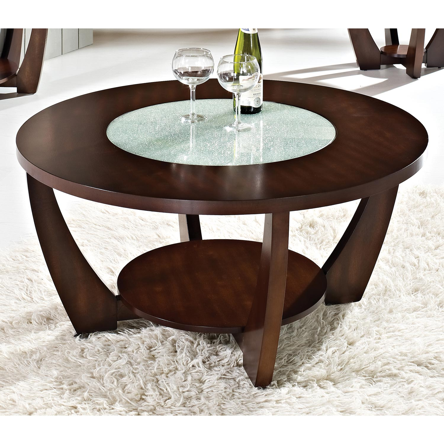 Rafael Round Coffee Table Crackled Glass Dark Cherry Wood