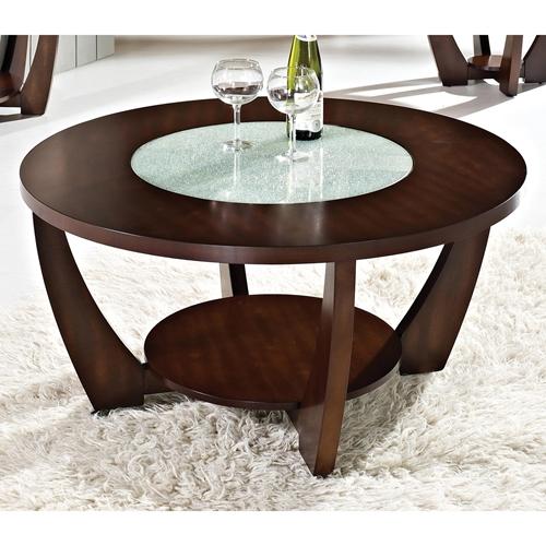 Rafael Round Coffee Table Crackled Glass Dark Cherry