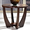 Rafael Round Side Table - Crackled Glass, Dark Cherry Wood - SSC-RF300E