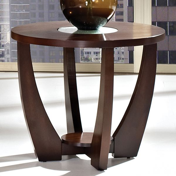 Glass Wooden Side Tables: Crackled Glass, Dark Cherry Wood