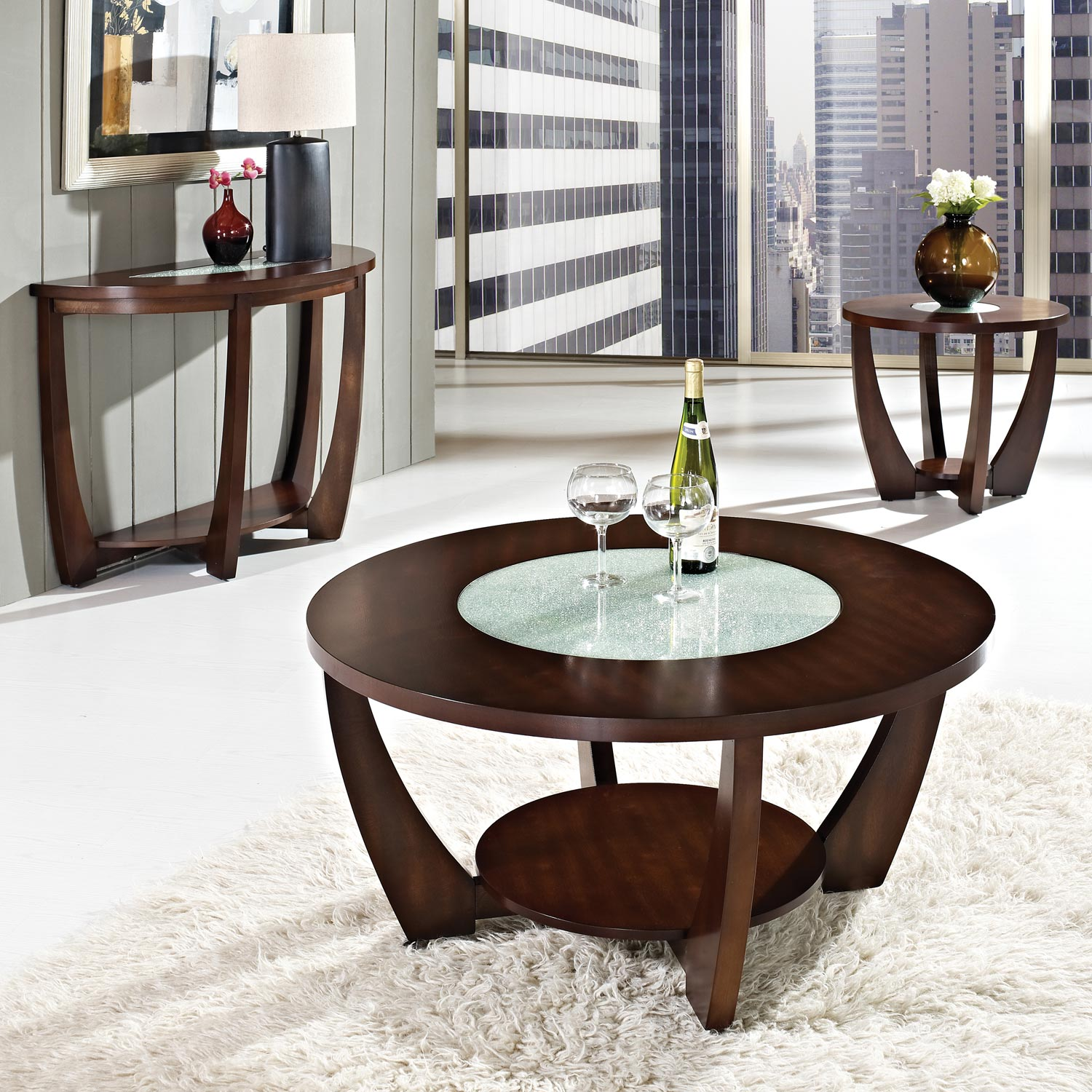 Rafael Round Coffee Table Crackled Glass Dark Cherry
