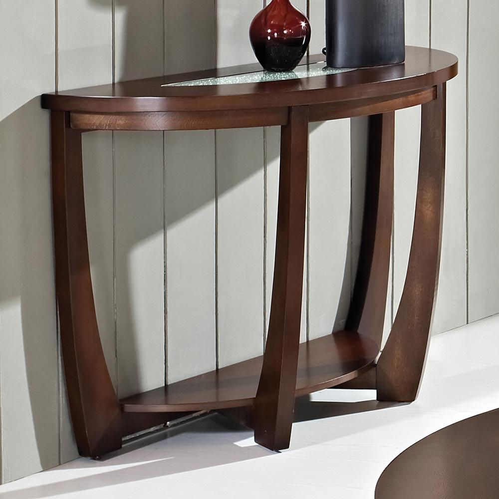 Rafael Demilune Sofa Table Crackled Glass Dark Cherry
