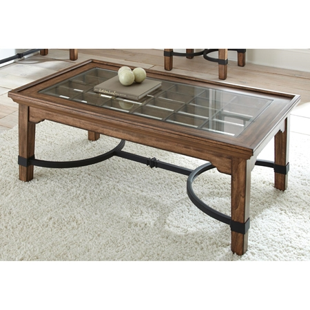 Levante Rustic Cocktail Table Glass Metal Wood Dcg Stores