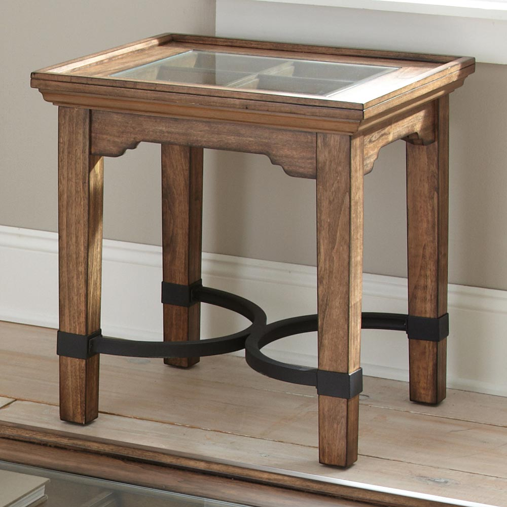 Levante Rustic End Table - Glass, Metal, Wood - SSC-LV100E