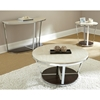 Bosco Round End Table - Cream Top, Chrome & Wood Base - SSC-BC300E