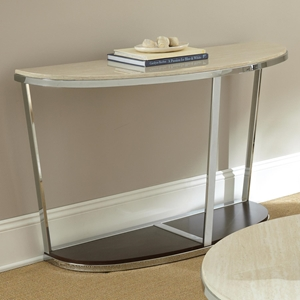 Bosco Sofa Table - Cream Top, Chrome & Wood Base