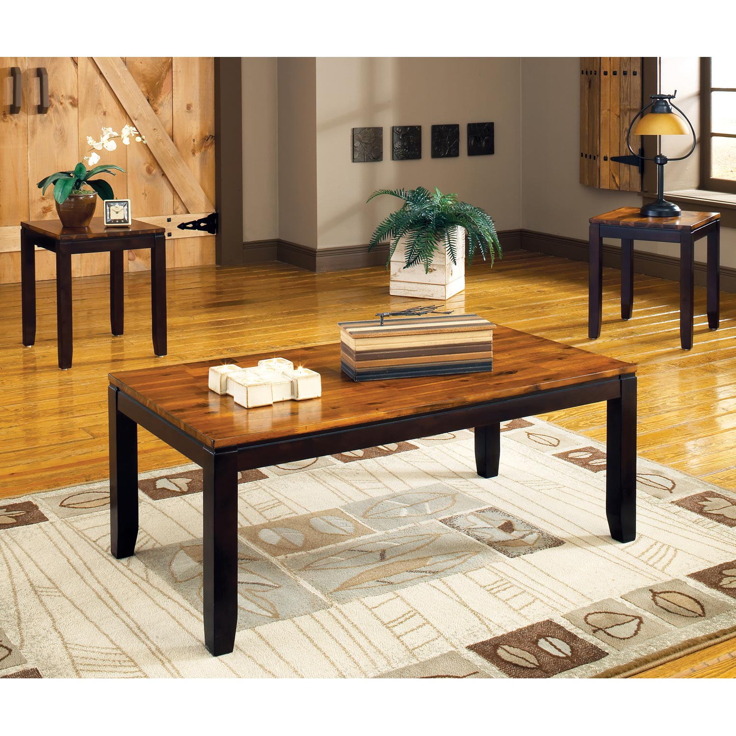 Abaco 3 Piece Occasional Tables Set - Two-Toned Acacia Finish - SSC-AB1000