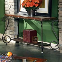 Ellery Glass Top Sofa Table with Metal Scroll Accents