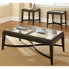 Mayfield Coffee Table & Side Tables Set - Glass, Dark Brown Frame - SSC-MF300