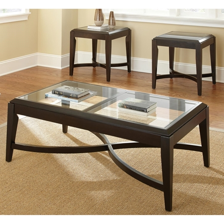 Mayfield Coffee Table Side Tables Set Glass Dark Brown Frame Dcg Stores