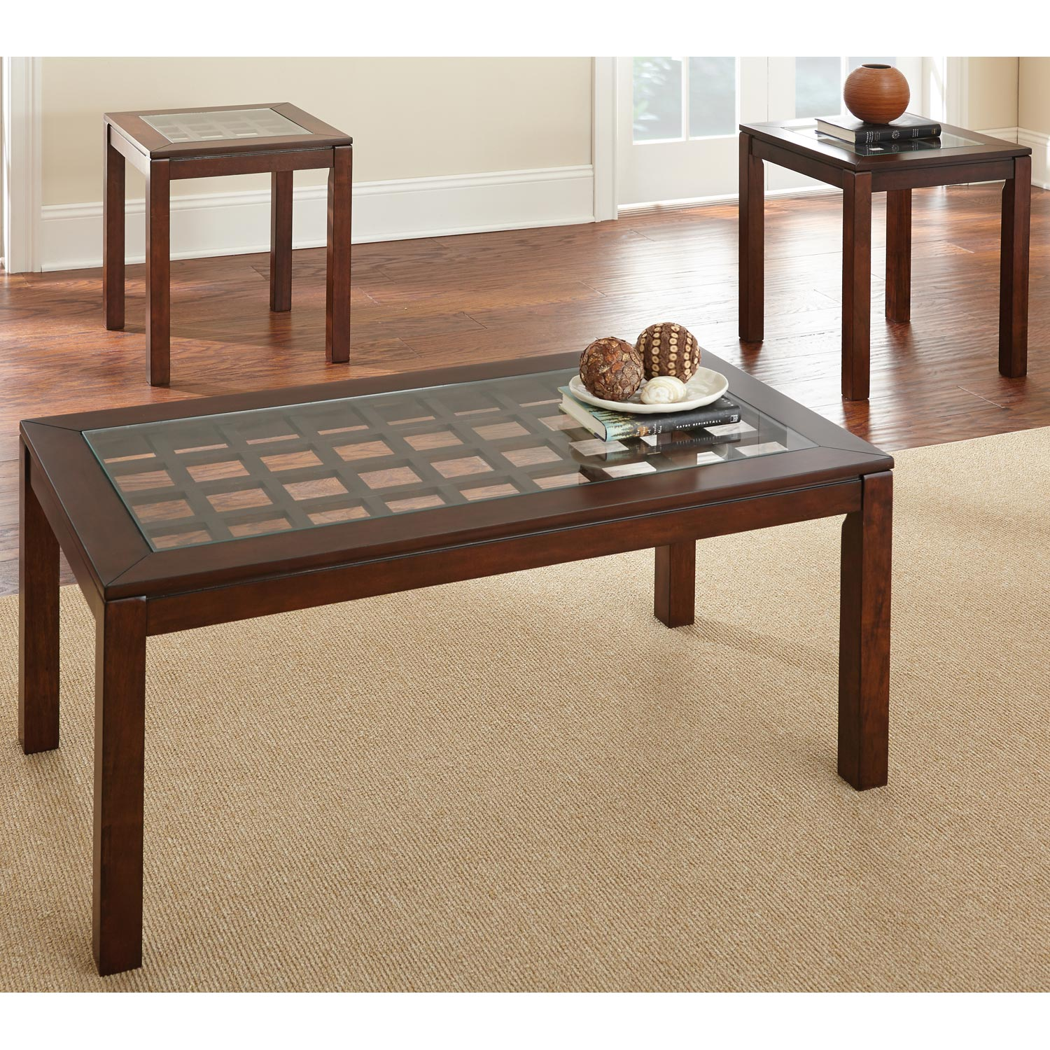 Dixon Coffee Table & Side Tables Set - Tempered Glass, Cherry - SSC-DX3000