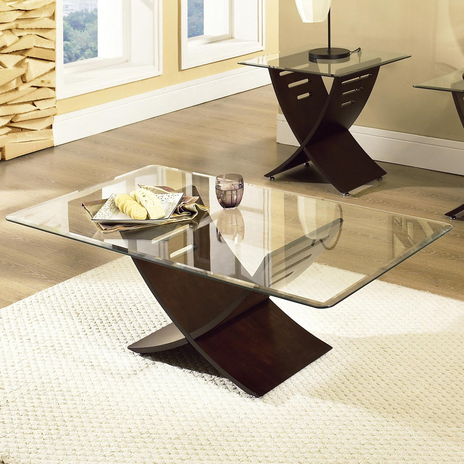 Cafe Occasional Tables Set - Beveled Glass, Espresso Wood - SSC-CA125T-CA125BE