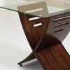Cafe Occasional Tables Set - Beveled Glass, Dark Cherry Wood - SSC-CA125T-CA150BH