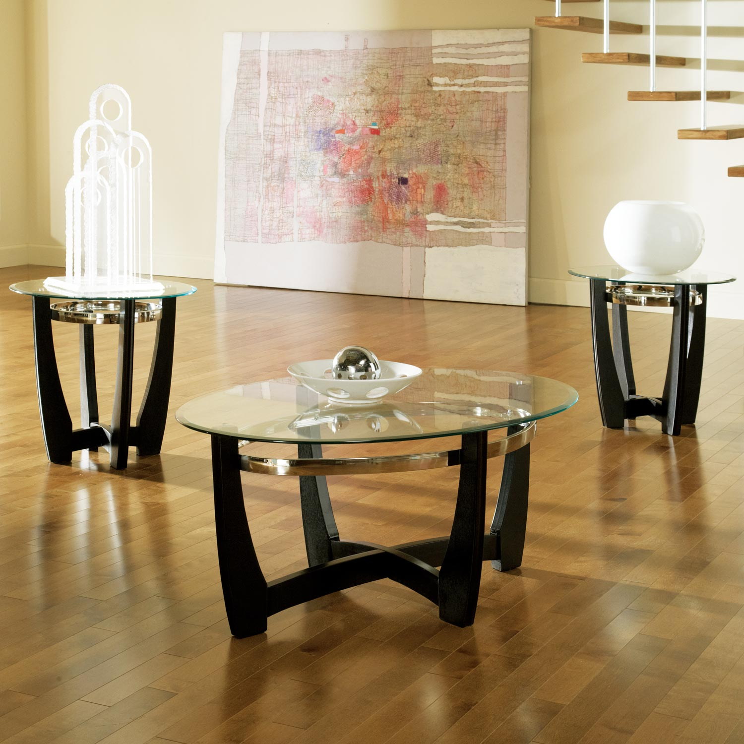 Matinee Modern Occasional Tables Set - Clear Glass, Black Base - SSC-MT2000T-MT2000B