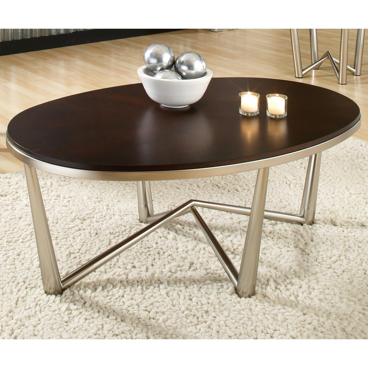 Cosmo Oval Coffee Table & Round End Tables Set - Wood, Metal - SSC-CM3000