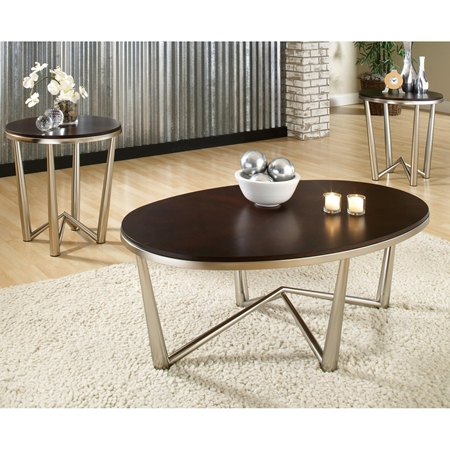Cosmo Oval Coffee Table Round End Tables Set Wood Metal DCG
