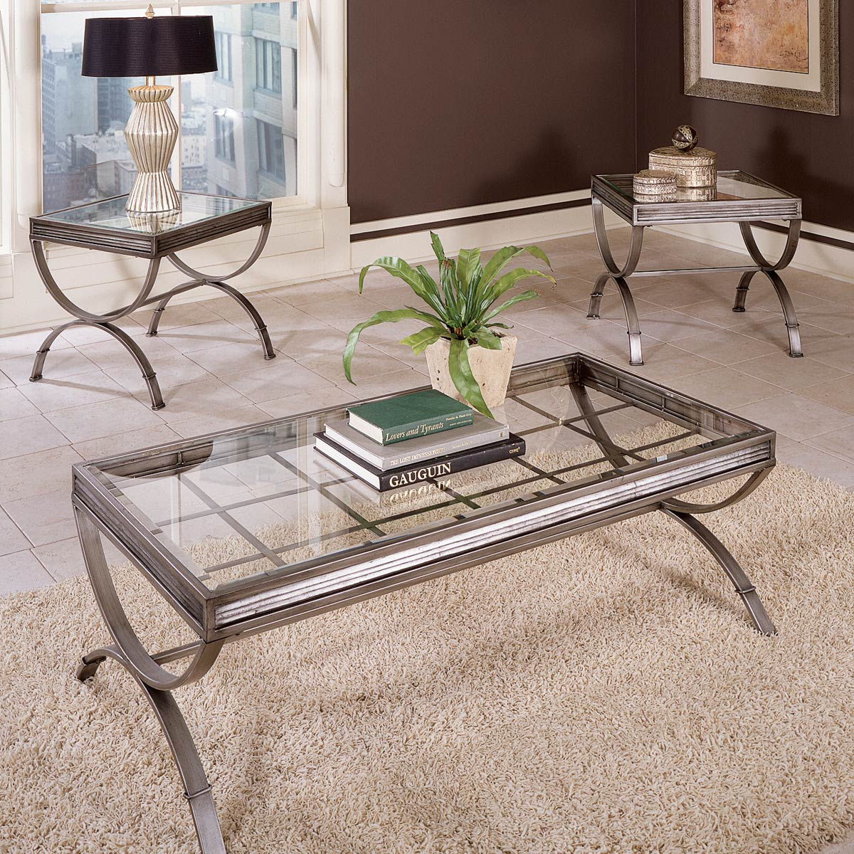 - Emerson 3 Piece Coffee Table Set - Glass, Metal, Brushed Nickel