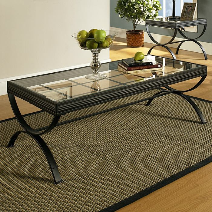 emerson 3 piece coffee table set glass metal black dcg stores