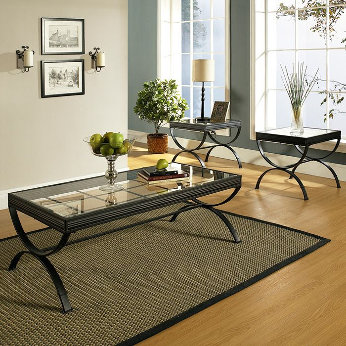 Emerson 3 Piece Coffee Table Set Glass Metal Black Ssc Em2000