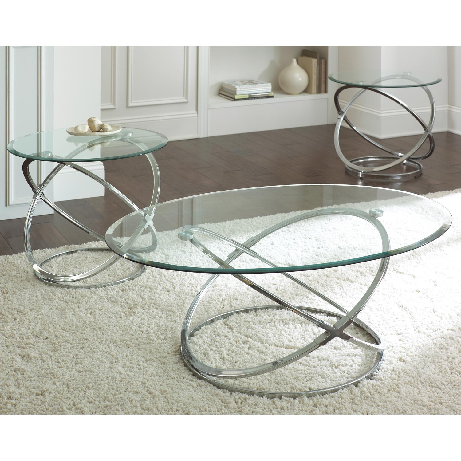 Orion 3 Piece Coffee Table Set Glass Chrome Rings Base DCG Stores