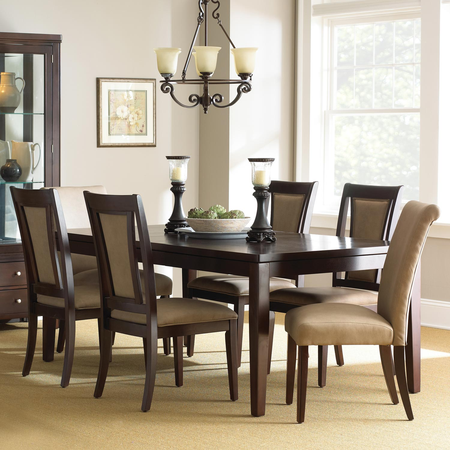 Wilson Contemporary Dining Set   Extension Table, Espresso Finish    SSC WL500 7PC ...