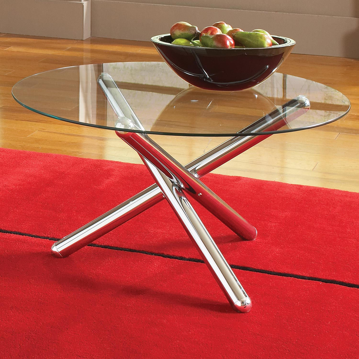 Riviera Round Coffee Table Set - Glass, Chrome Cylindrical Legs - SSC-RV3000T-RV3000B