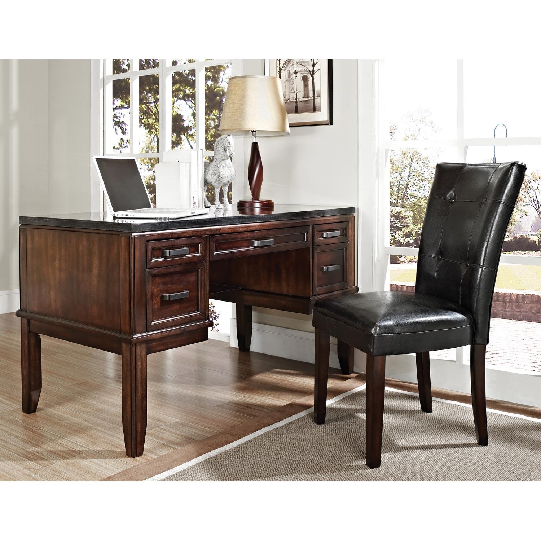 Chamberlain Writing Desk Black Top Dark Cherry Wood Ssc Cb150d