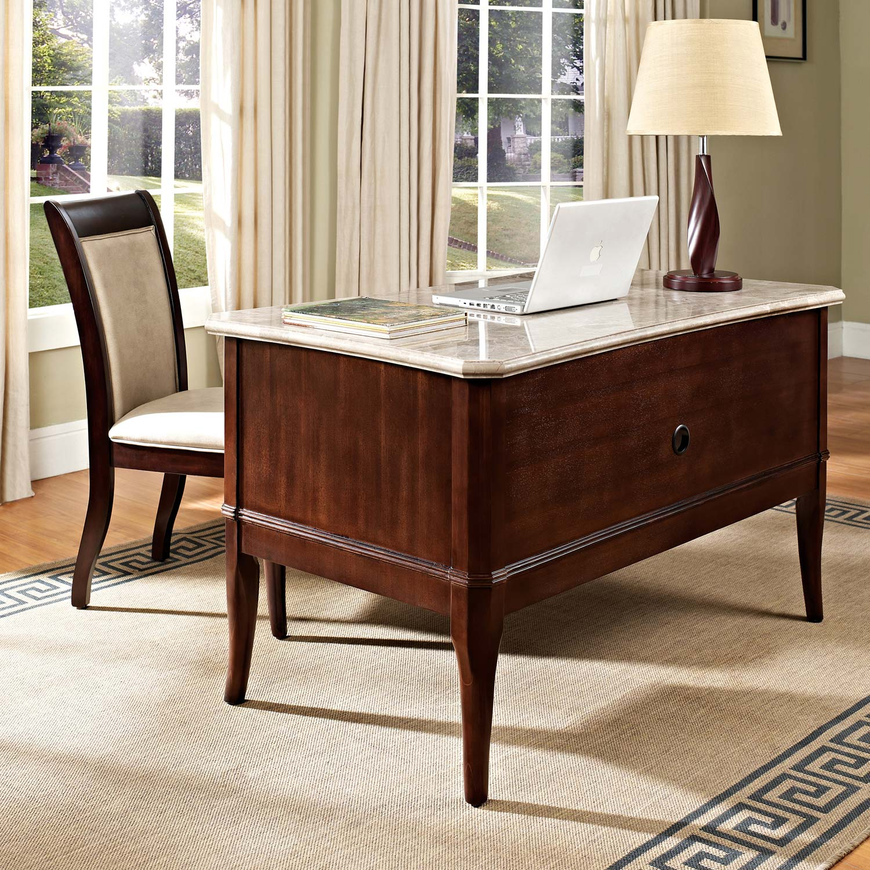 Mille 5 Drawer Writing Desk Cream Top Dark Cherry Base Ssc