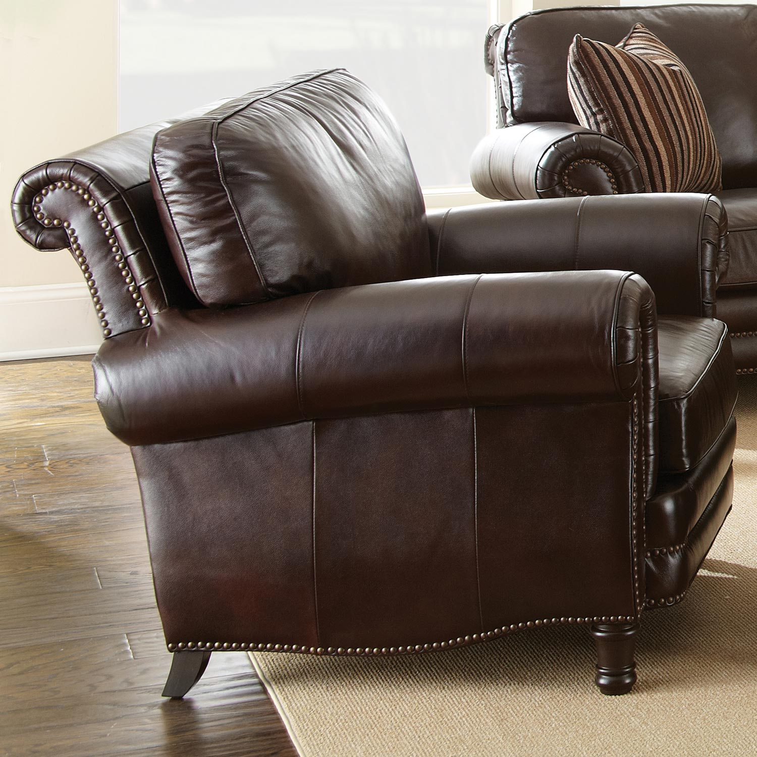 Chateau Leather Chair - Nail Heads, Antique Chocolate Brown - SSC-CH860C