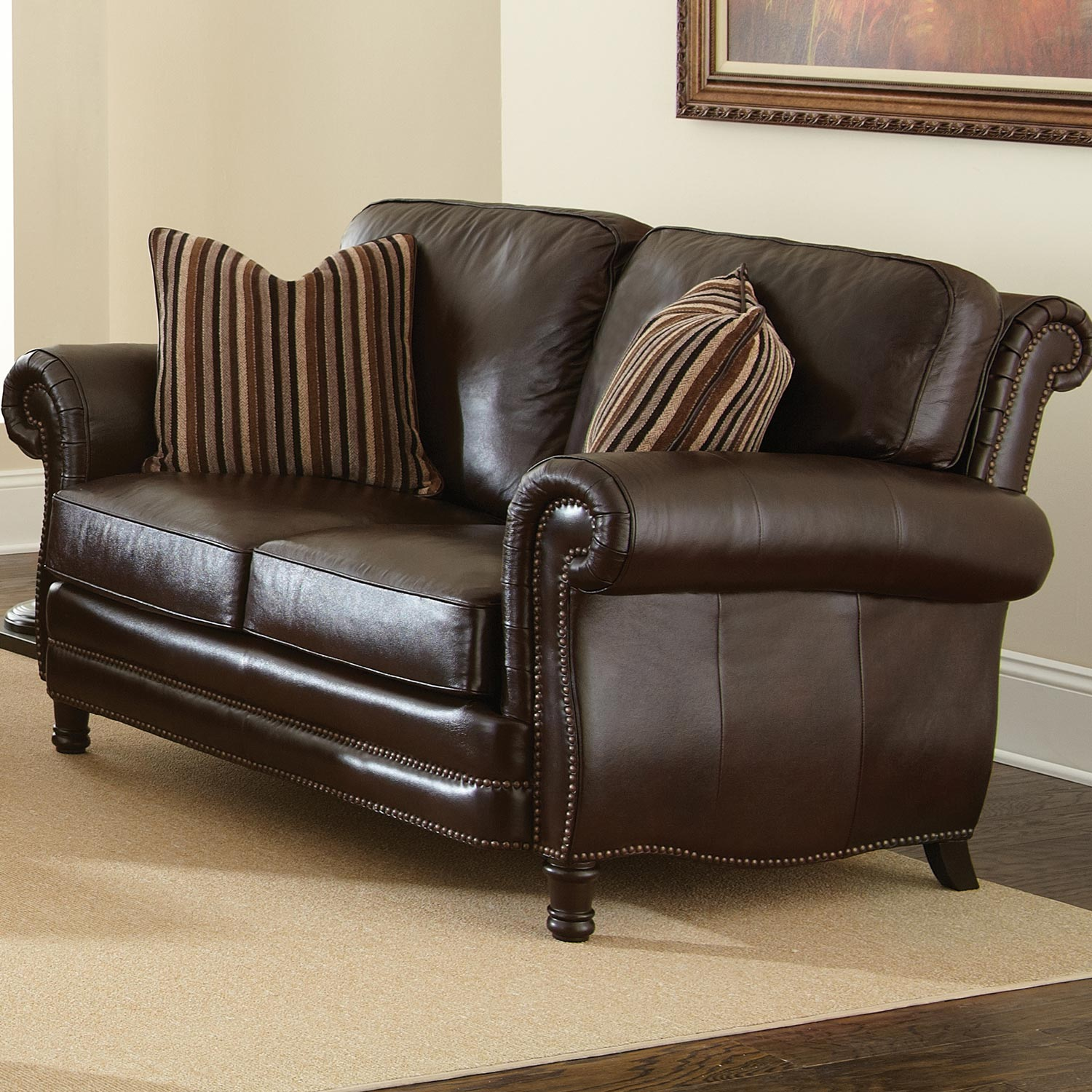 Chateau Leather Loveseat - Nail Heads, Antique Chocolate Brown - SSC-CH860L