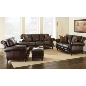 Chateau 3 Piece Leather Sofa Set - Antique Chocolate Brown