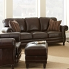 Chateau Leather Sofa Nail Heads Antique Chocolate Brown Dcg  ~ Leather Sofa With Nailheads