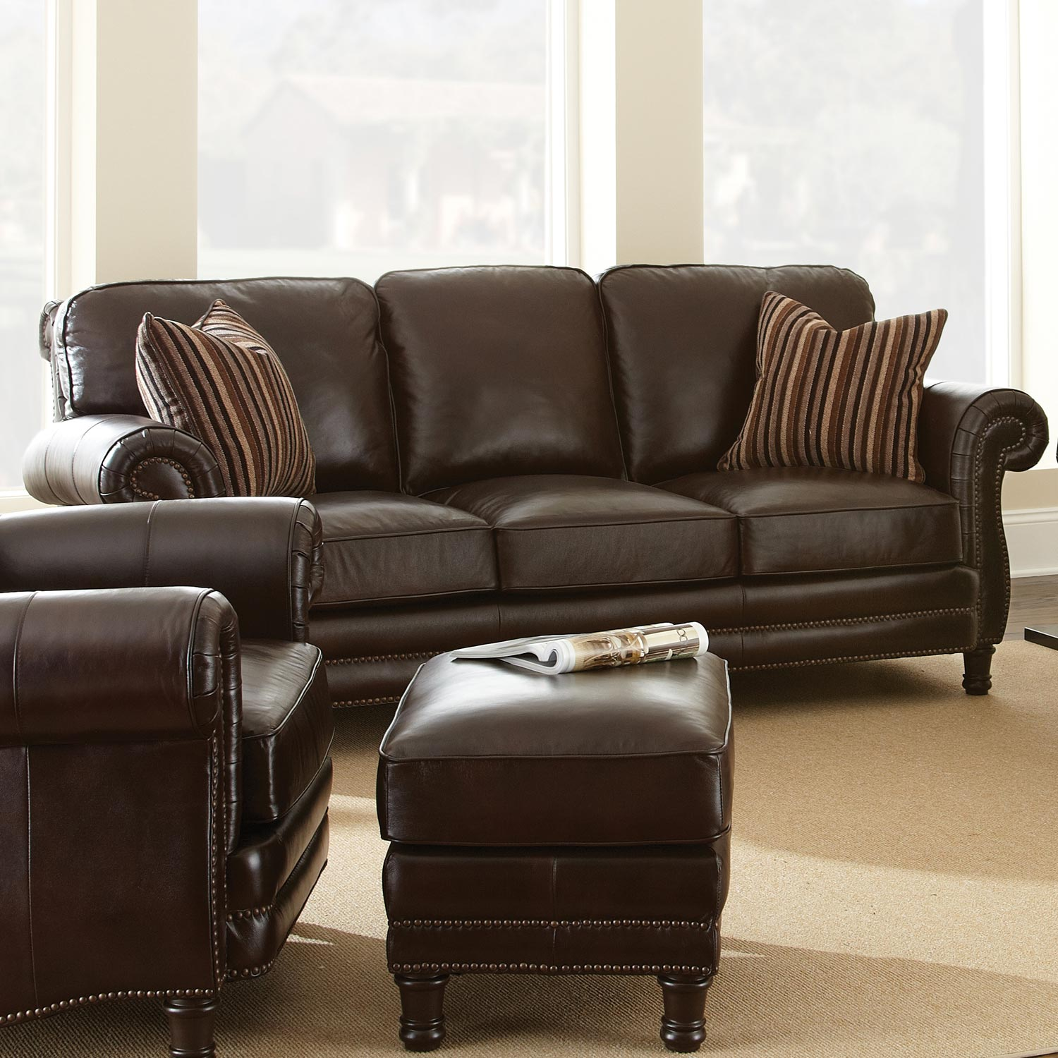 chateau 3 piece leather sofa set antique chocolate brown dcg stores. Black Bedroom Furniture Sets. Home Design Ideas